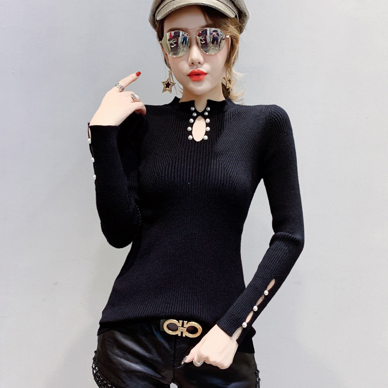 Autumn 2019 Sweater Women Pearl Beading Hollow Out Stretchy Slim Long Sleeve Black Pullover Knitted Jumper Tops Bottoming M99293