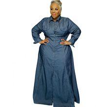 Robe Maxi en Denim bleu à manches longues pour femmes, Streetwear à la mode, grande taille 3XL, 4XL 5XL, nouvelle collection 2021