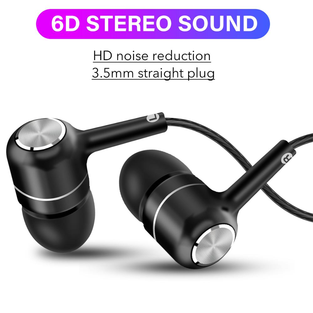 6D Stereo Earphones In Ear 3.5MM Wired Earphone Volume Control Headphones With Mic For Redmi Note 8 Pro Mi A3 A50 A70 P30 Lite