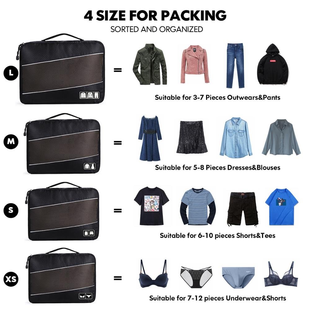 Image 5 - Soperwillton Men Women Travel Bag Male Female 210D Polyester 3 4 6  8 Pieces Packing Cubes Travel Luggage Organizer Cube Set #501Travel  Bags