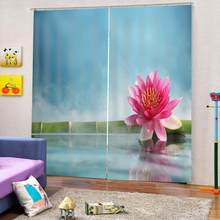 Natural Scenery Bamboo Leaves Water and Lotus Flowers Picture Pattern Shower Curtains for Living room bedroom window Drapes(China)