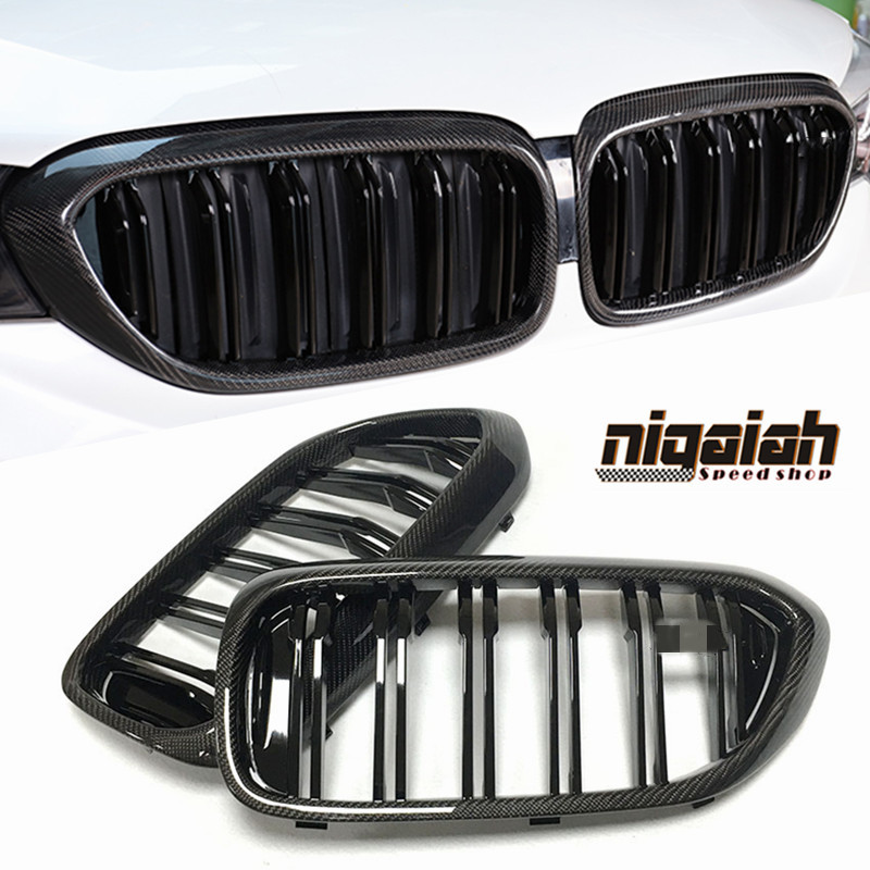 Carbon Fiber ABS Black <font><b>Grill</b></font> Grille for BMW 5 Series <font><b>G30</b></font> G38 2018 M5 F90 2-Line Style Front Bumper Kidney <font><b>Grill</b></font> 1:1 Replacement image