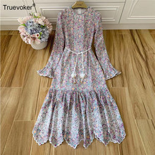 Truevoker Herfst Runway Linnen Jurken Vrouwen Volledige Mouwen Blue Print Borduren Hollow Out Lange Jurk Resort Party Vestidos(China)