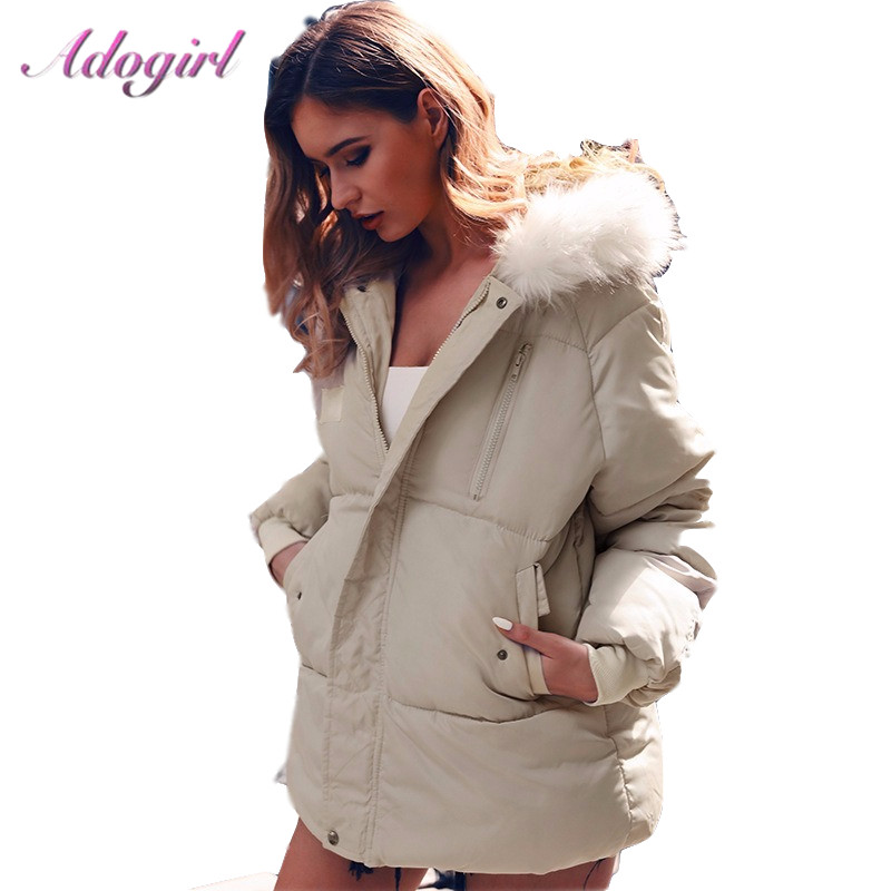 Adogirl Down Coats Women Winter Casual Zipper Up Long Sleeve Fur Hooded Light Down Jackets Coat Female Outwear Thick Parkas Coat