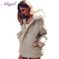 Adogirl Down Coats Women Winter Casual Zipper Up Long Sleeve Fur Hooded Light Down Jackets coat Female outwear Thick Parkas Coat