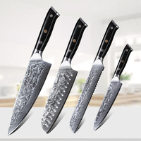 TURWHO High Pro Damascus steel Kitchen Knives Sets 4PCS Japanese chef knife Knives Super Sharp Kitchen Cooking Knife Set tools