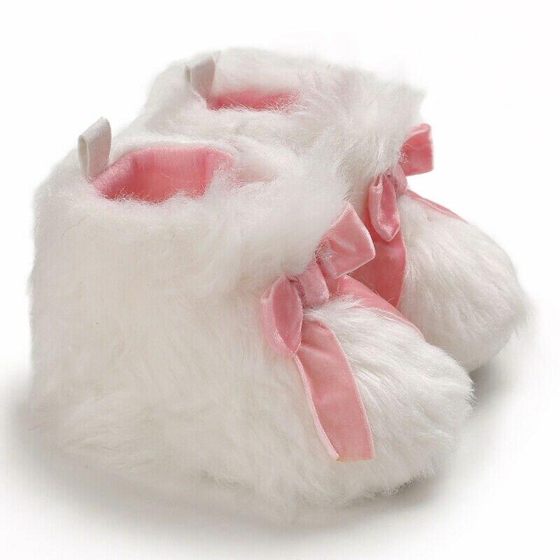 0-1Y Newborn Baby Toddler Winter Warm Shoes Fashion White Fur Soft Snow Boots Bowknot Bottom Cotton Shoes Plus Velvet Snow Boots