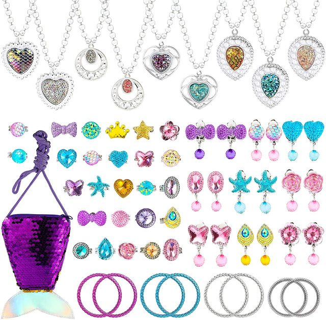 62Pcs Jewelry Accessories Princess Jewelry Pretend Dress Up Necklaces Rings Earrings Jewelry Sets for a Beautiful Girls 2