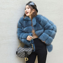 2019 Fashion Womens Real Fur Coat Genuine Fox Coats Middle Aged Women Mandarin Collar Full Sleeves Winter Jackets