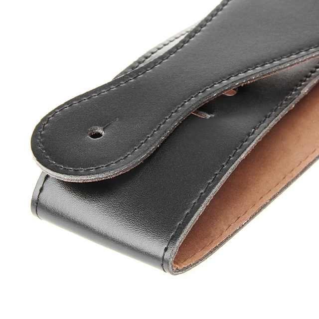 Adjustable Soft PU Leather Thick Strap For Electric Acoustic Guitar Bass Black
