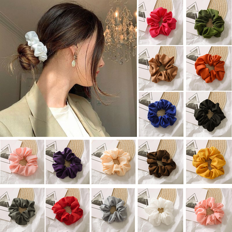 Chiffon Hair Scrunchies Elastic Headband Candy Colors Hairbands Hair Accessories For Women/Girl Hair Sports Ponytail  Holder