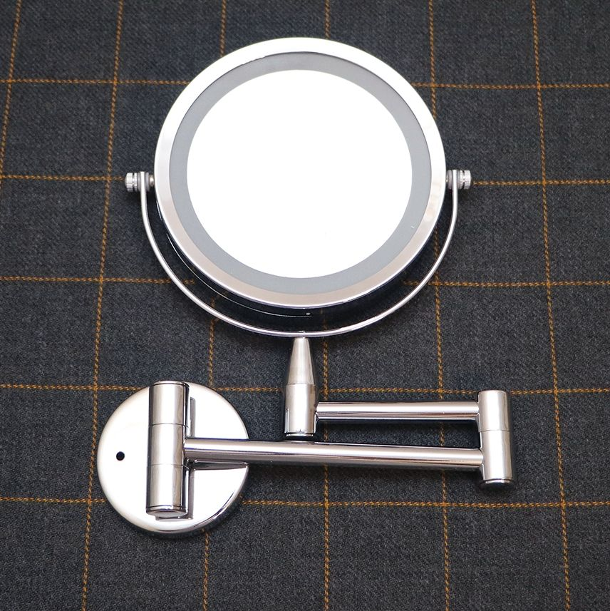 6Inch Makeup Mirror LED 1X/5X Magnification Wall Mounted Adjustable Makeup Mirror Dual Arm Extend 2-Face Cosmetic Mirror