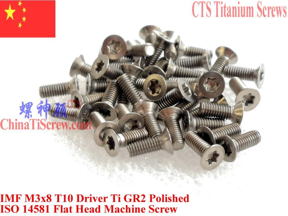 ISO 14581 титановые винты M3x6 M3x8 M3x10 M3x12 M3x14 M3x16 M3x20 плоская головка Torx T10 драйвер Ti GR2 полированная 25 шт.
