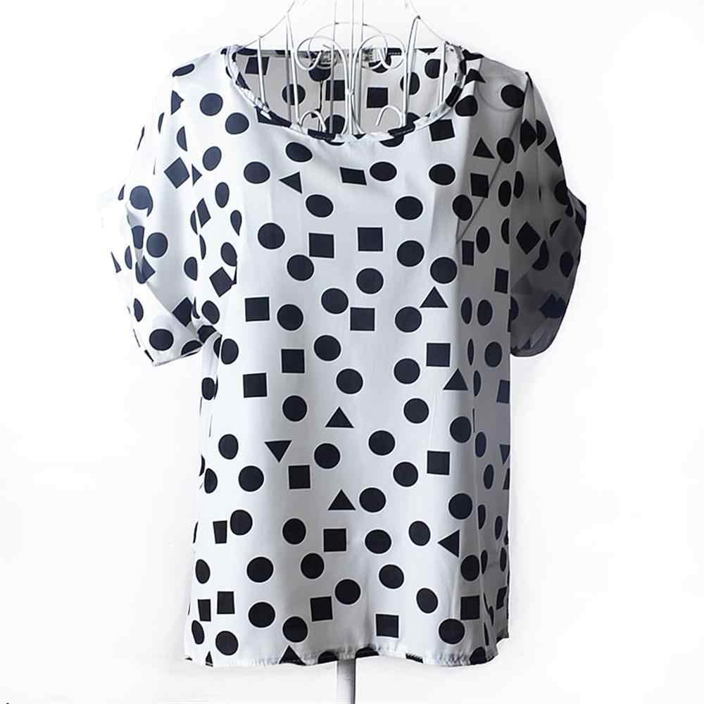 2019 Nuove Donne di Modo Chiffon O-Collo Sciolto T-Shirt Stampa Manica Corta Traspirante Donne di Grandi Dimensioni Magliette LadiesTops