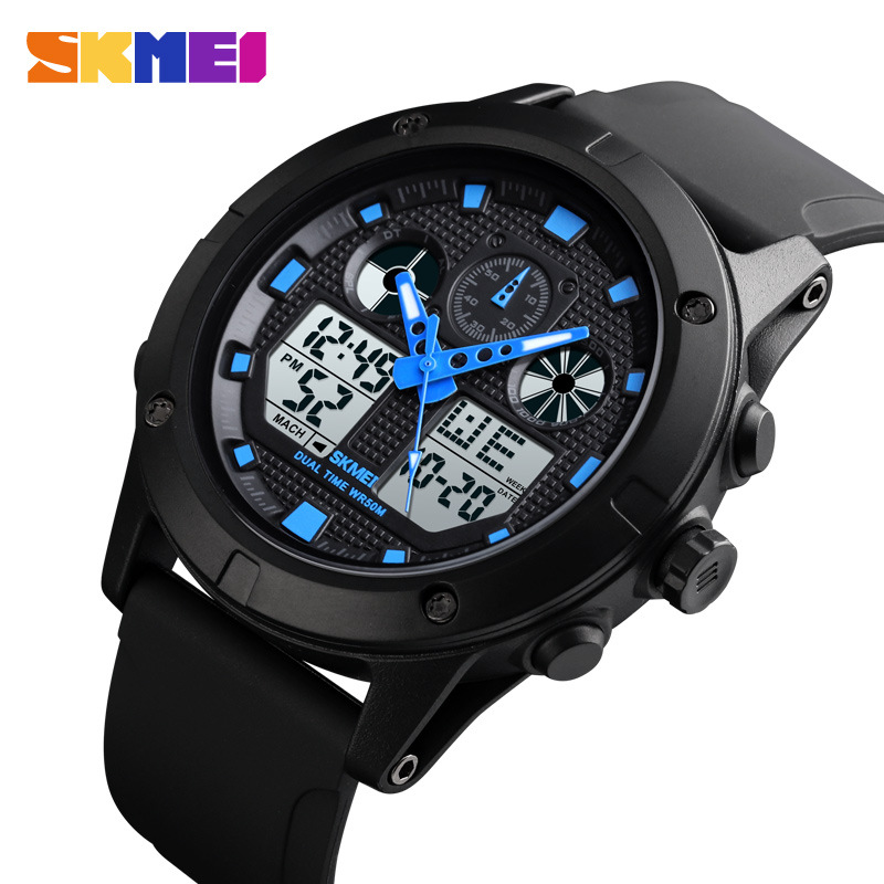 Men's Watches <font><b>SKMEI</b></font> Luxury Brand Men Sports Quartz Watch Men Stainless Steel LED Digital Clock Waterproof Relogio Masculino image