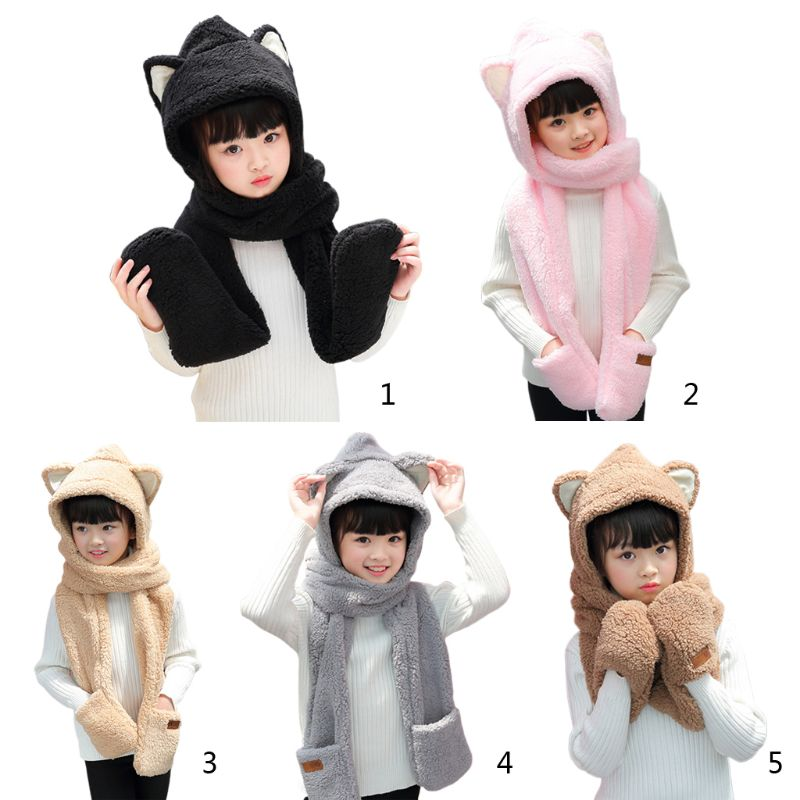 Toddler Kids 3 In 1 Warm Winter Hat Cute Animal Ears Scarf Gloves Earflap Cap Y1AC