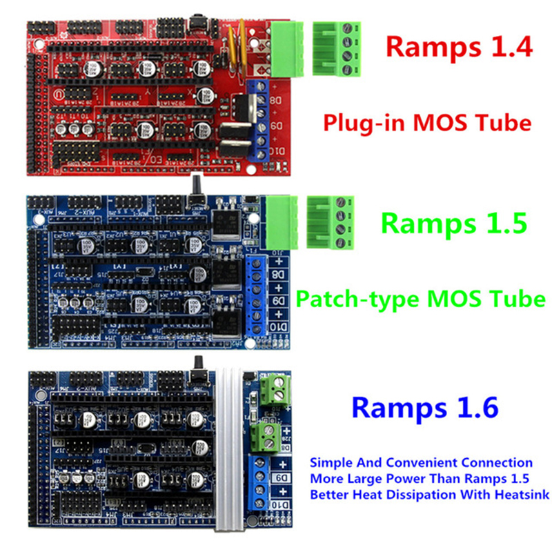 3D Printer Ramps 1.4 1.5 1.6 Control Board Panel With Heatsink Expansion Control 3D Printer Parts Upgraded For Arduino