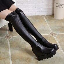 Shoe Long-Boots Platform-Height Round-Toe Autumn Winter Women's Ladies Over-The-Knee