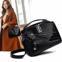 ZDG handbags women genuine leather shoulder bag black 2019 zip pocket bag for women ladies tote bag purses women