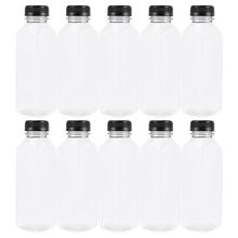 Pet-Bottles Disposable Empty-Storage-Containers Transparent with 400ml Lids for Beverage