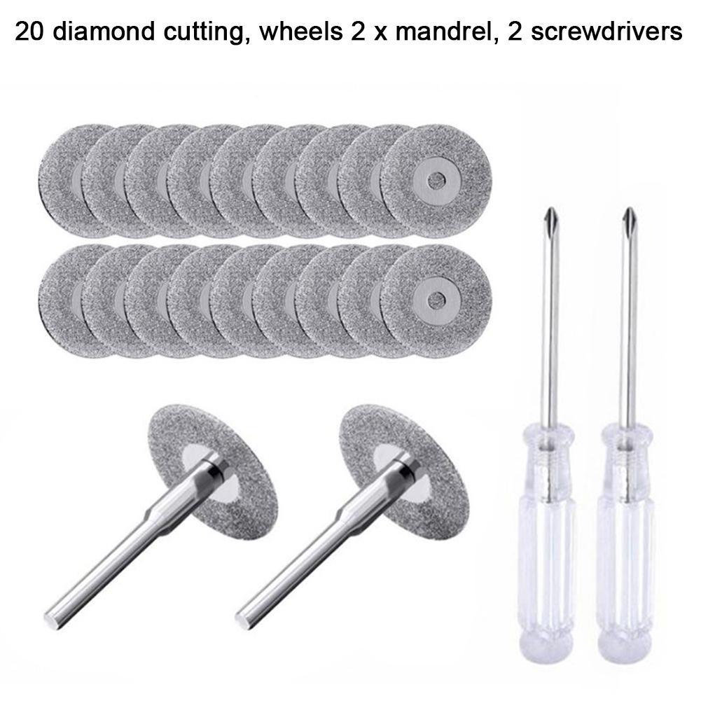 22MM Diamond Cutting Wheel Set With Mandrel Screwdriver Good Quality Versatile Diamond Cutting Wheel Set For Rotary Tool