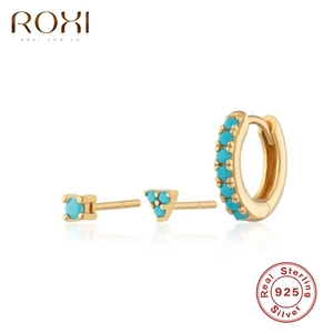 ROXI Creative 3pcs Round Triangle Turquoise Stone Stud Earrings for Women Earring Piercing 925 Sterling Silver Jewelry Orecchini