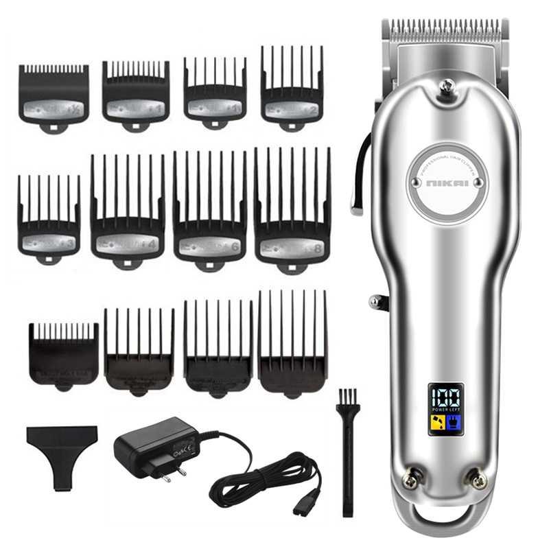 يتلاشى مزج المهنية الشعر المتقلب الكهربائية جميع المعادن الإسكان مقص الشعر الرجال قابلة للشحن آلة قطع الشعر اللاسلكي
