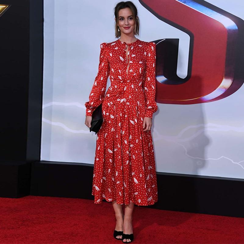 Femmes piste concepteur à pois imprimé boho robe à manches longues découpé trou de clé sexy plissé robe rouge 2019 vêtements femme