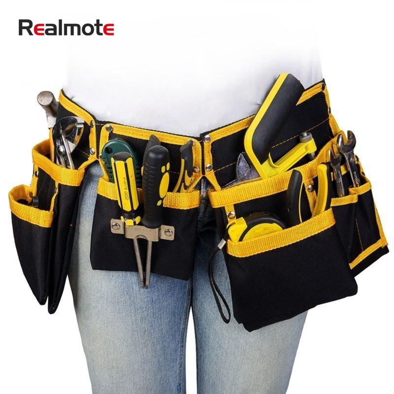 Realmote Oxford Cloth Multi-functional Electrician Tools Bag Waist Pouch Belt Storage Holder Organizer