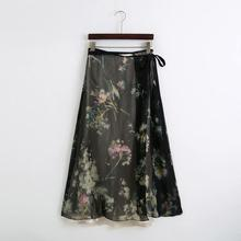 2020 Women vintage flower print double layer long skirt faldas mujer chic female