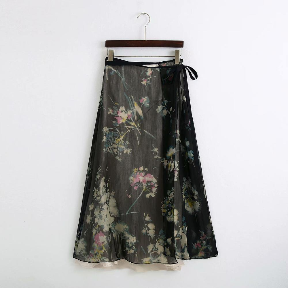 2020 Women Vintage Flower Print Double Layer Long Skirt Faldas Mujer Chic Female Lace Up Bow Casual Vestidos Retro Skirts QUN622