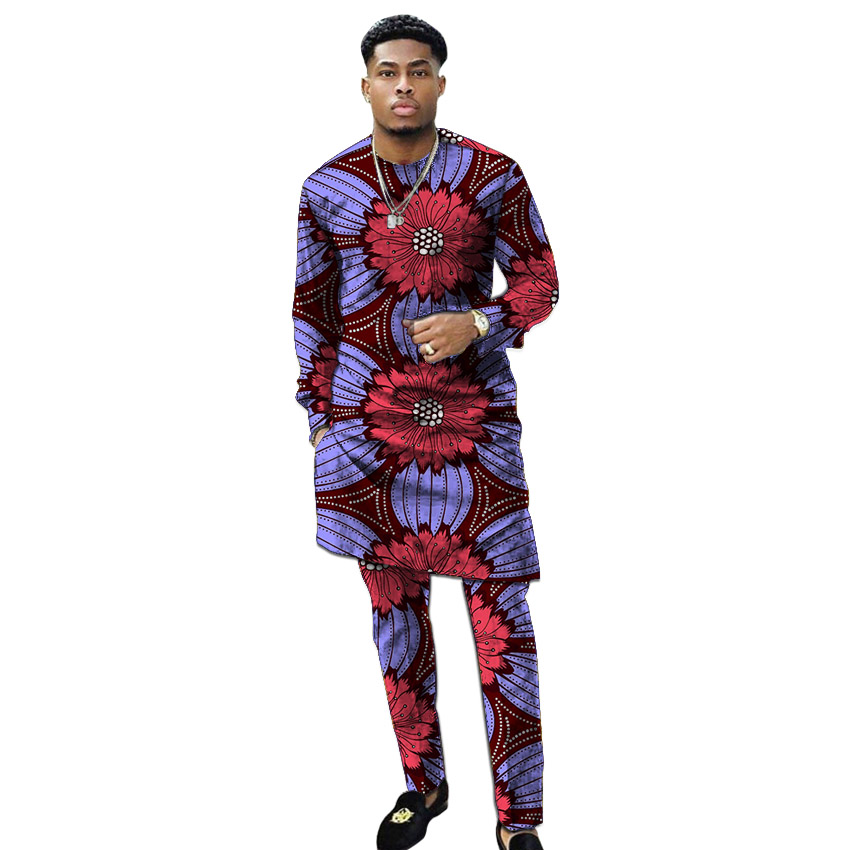 African Clothing Men's Print Set Shirt With Trouser Patchwork Ankara Pant Sets Customized Wedding Wear Male Formal Outfits
