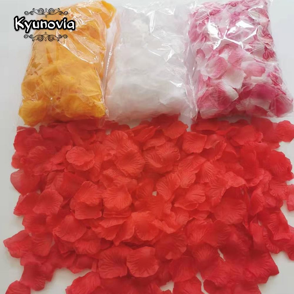 Kyunovia One By One Separte Petals 500pcs Rose Petals Petalos De Rosa Wedding Decoration Artificial Fabric Wedding Rose Petals