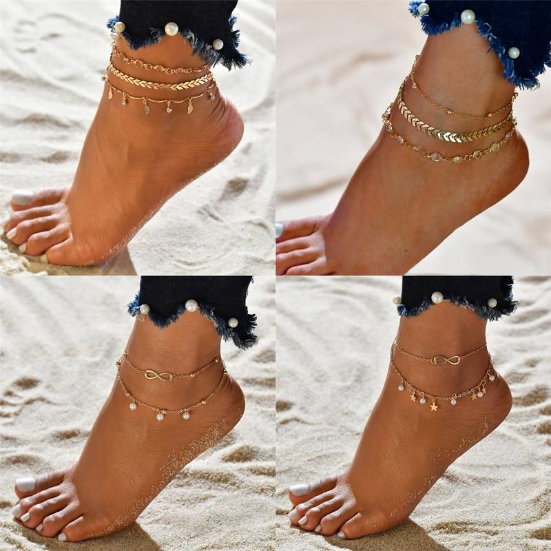 VAGZEB Female Heart Anklets Barefoot Crochet Sandals Foot Jewelry New Ankle Ankle Foot Anklets Bracelets For Women Leg Chain