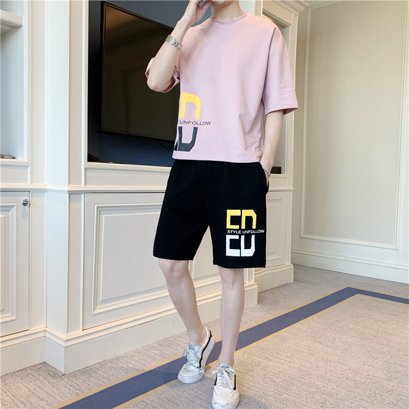 Men's Suit 2019 New Style Popular Brand Summer Korean-style Trend Teenager T-shirt Suit Students Shorts Sports Clothing