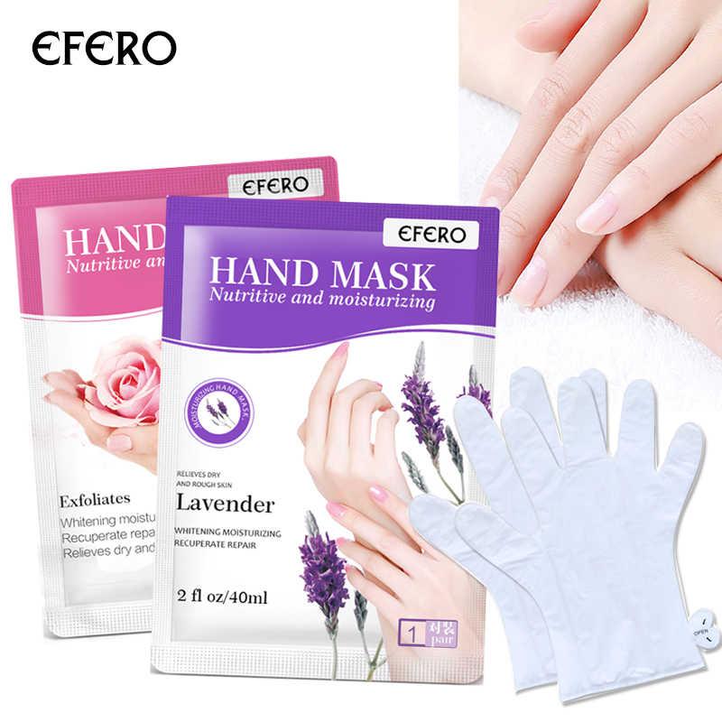 Efero hidratante máscara de mão luvas esfoliante remendo de mão spa beleza clareamento cuidados com a pele anti-rugas secagem 1 par = 2 peças