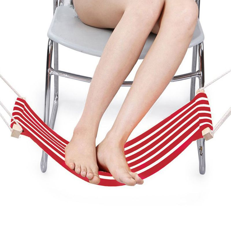 Portable Adjustable Mini Office Foot Rest/Foot Stool Stand Desk Foot Hammock (Red And White Stripes)