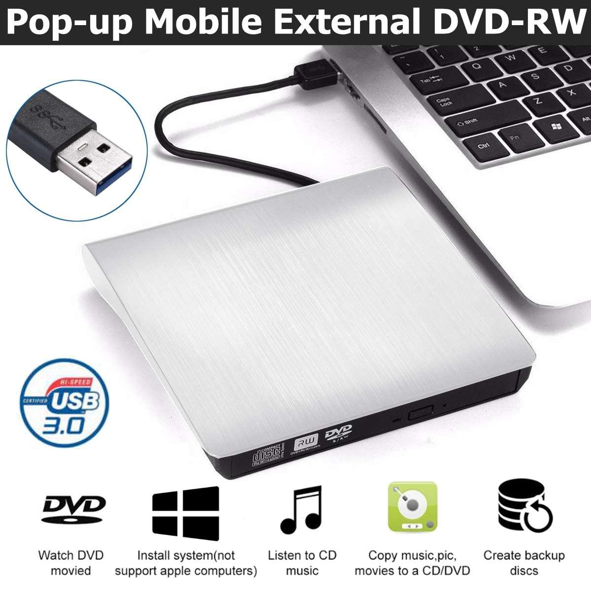 New White USB 3.0 Slim External DVD RW CD Writer Drive Burner Reader Player Optical Drives For Laptop PC