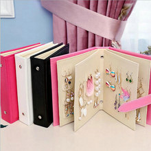Portable 48 Holes Earrings Organizer Display Stand Leather Album Earring Holder Show Box Jewelry Organizer