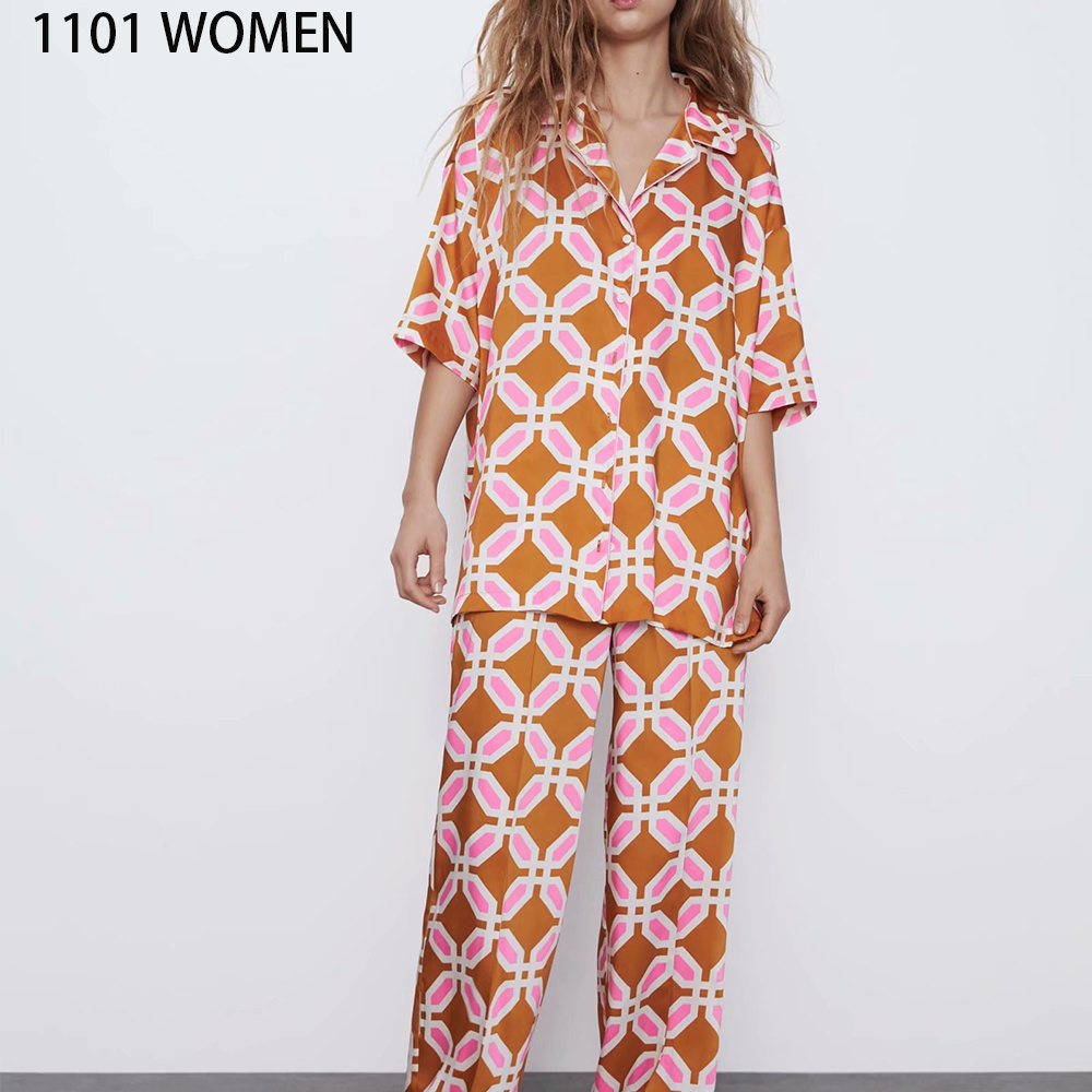 2020 NEW Summer Women 2 Pieces Set Orange Print Short Sleeve Shirt Blouse Long Pant Suit Female Casual Woman Clothes