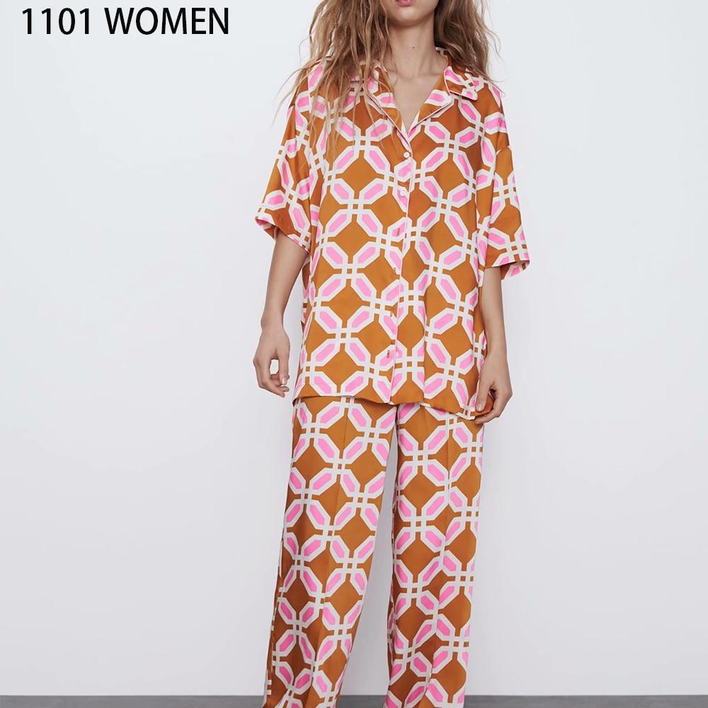 2020 NEW Summer Women 2 Pieces Set Orange Print Short Sleeve Shirt Blouse Long Pant Suit Female Casual Woman Clothes