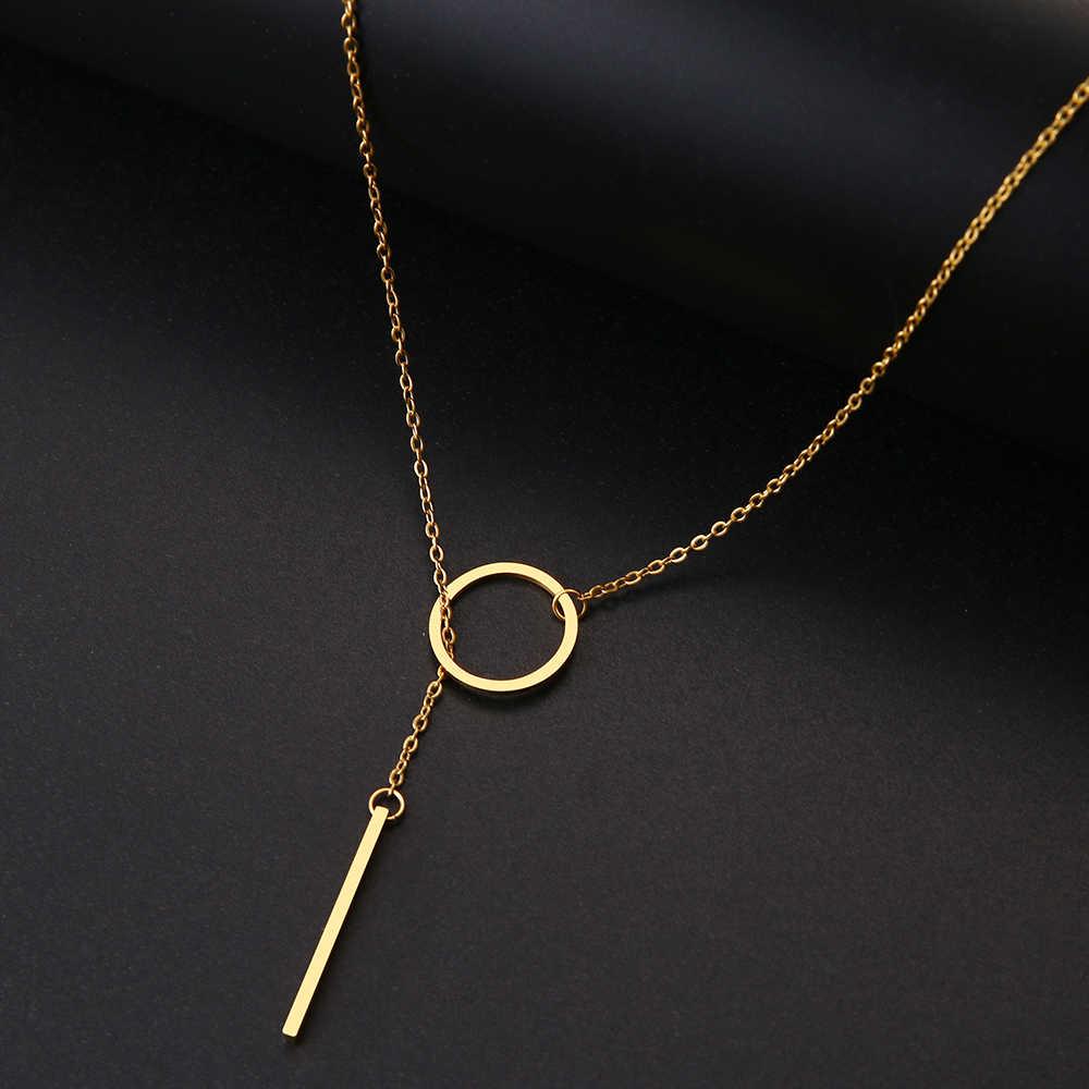 DOTIFI レディースロングチェーンペンダントネックレスクリエイティブ幾何形状ステンレス鋼ゴールドとシルバージュエリー GiftT111-T116