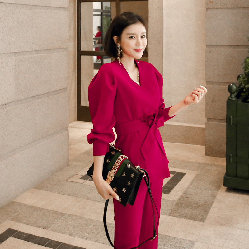 Women Pant Suits Formal New Style Professional Wear Fashion Red Suit Female Overalls OL Temperament Suit Pants Two Sets