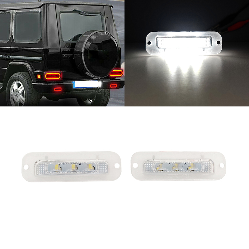 2X White License Plate Light LED For Benz W463 G Class G500 G550 <font><b>G55</b></font> G63 G65 <font><b>AMG</b></font> OEM:A4638200356 image