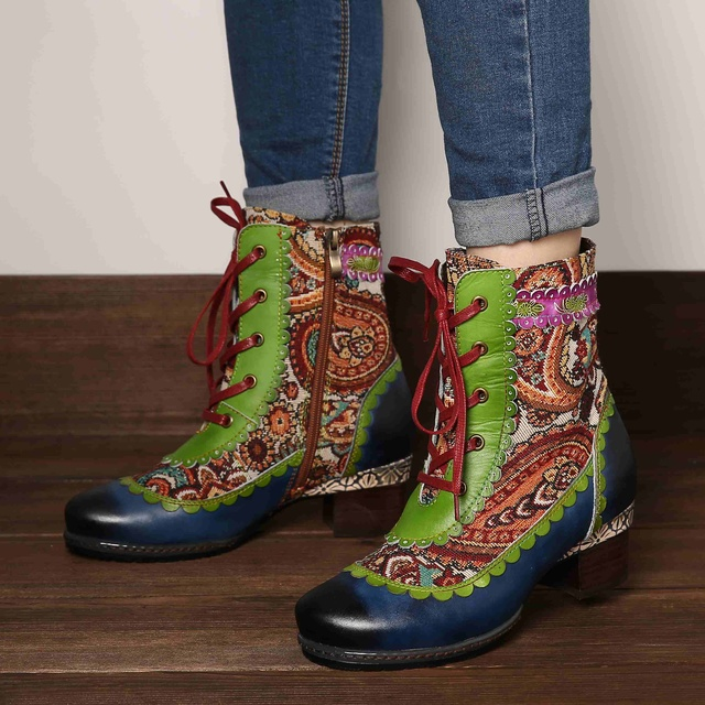 Lace Pattern Genuine Leather Soft Booties