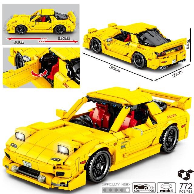 MOC 772pcs Classic Car City Pull Back Sports Car Building Block Model High-Tech Speed Roadster Kid Toy Assembled DIY Bricks Gift 1