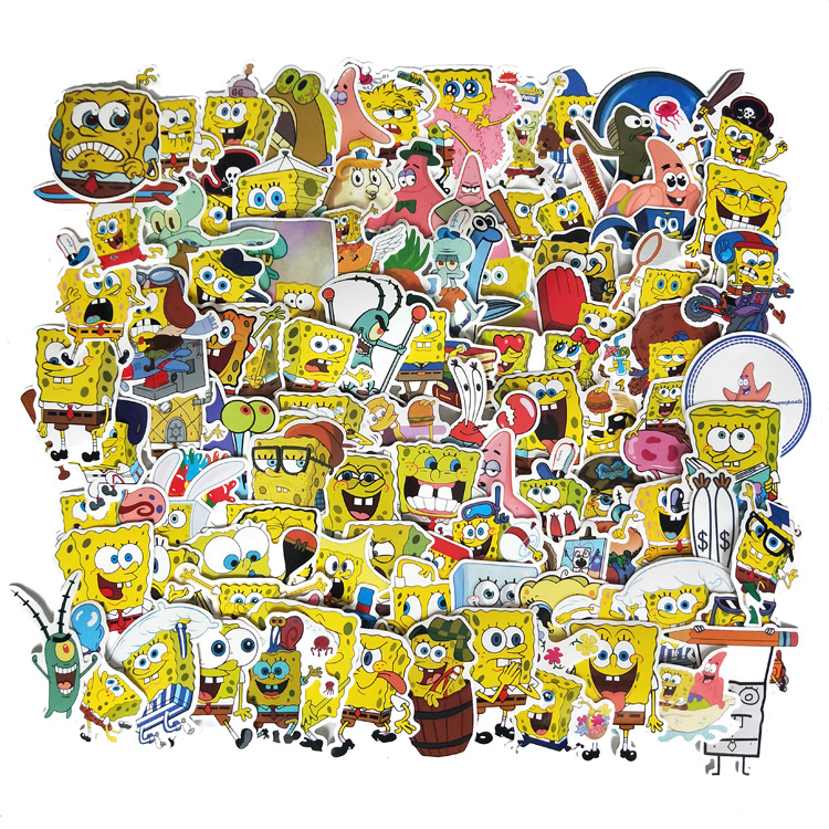 100Pcs/Pack SpongeBob Stickers Cartoon Graffiti Pegatinas For Motorcycle Notebook Laptop Luggage Bicycle Skateboard