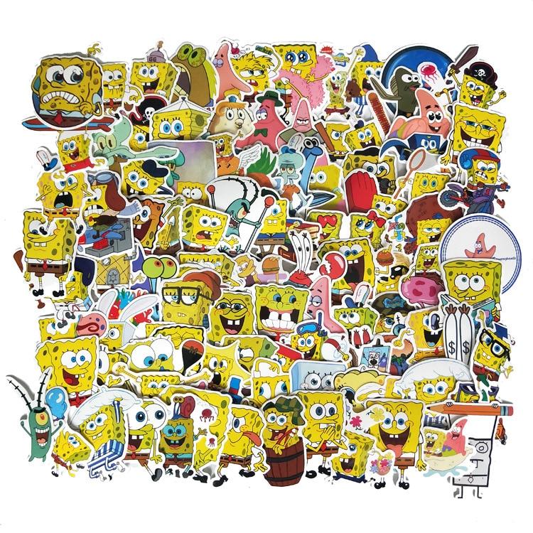 100Pcs/Pack SpongeBob Stickers Cartoon Graffiti Pegatinas For Motorcycle Notebook Laptop Luggage Bicycle Skateboard