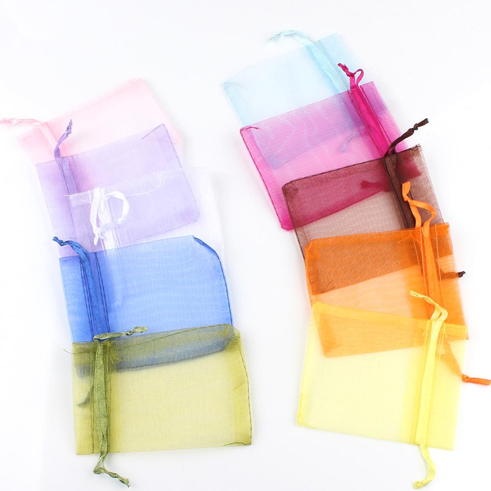 50pcs 9x12 10x15 13x18 Organza Bags Jewelry Packaging Bags Gift Engagement Wedding Party Decoration Drawstring Packaging Pouches