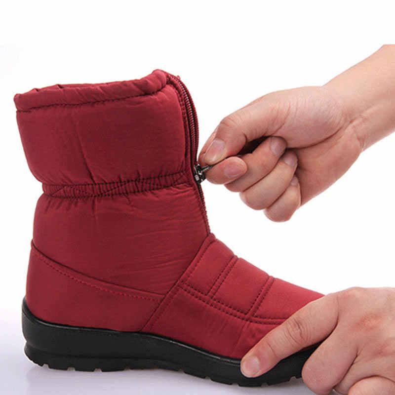 Moda kar botları kadın kış platformu yarım çizmeler bayanlar su geçirmez sıcak kürk Botines kadın olmayan kayma Zapatos De Mujer